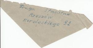kawałek koperty zachowany w dokumentach z adresem Stanisława Fruga, może to brat Agaty
