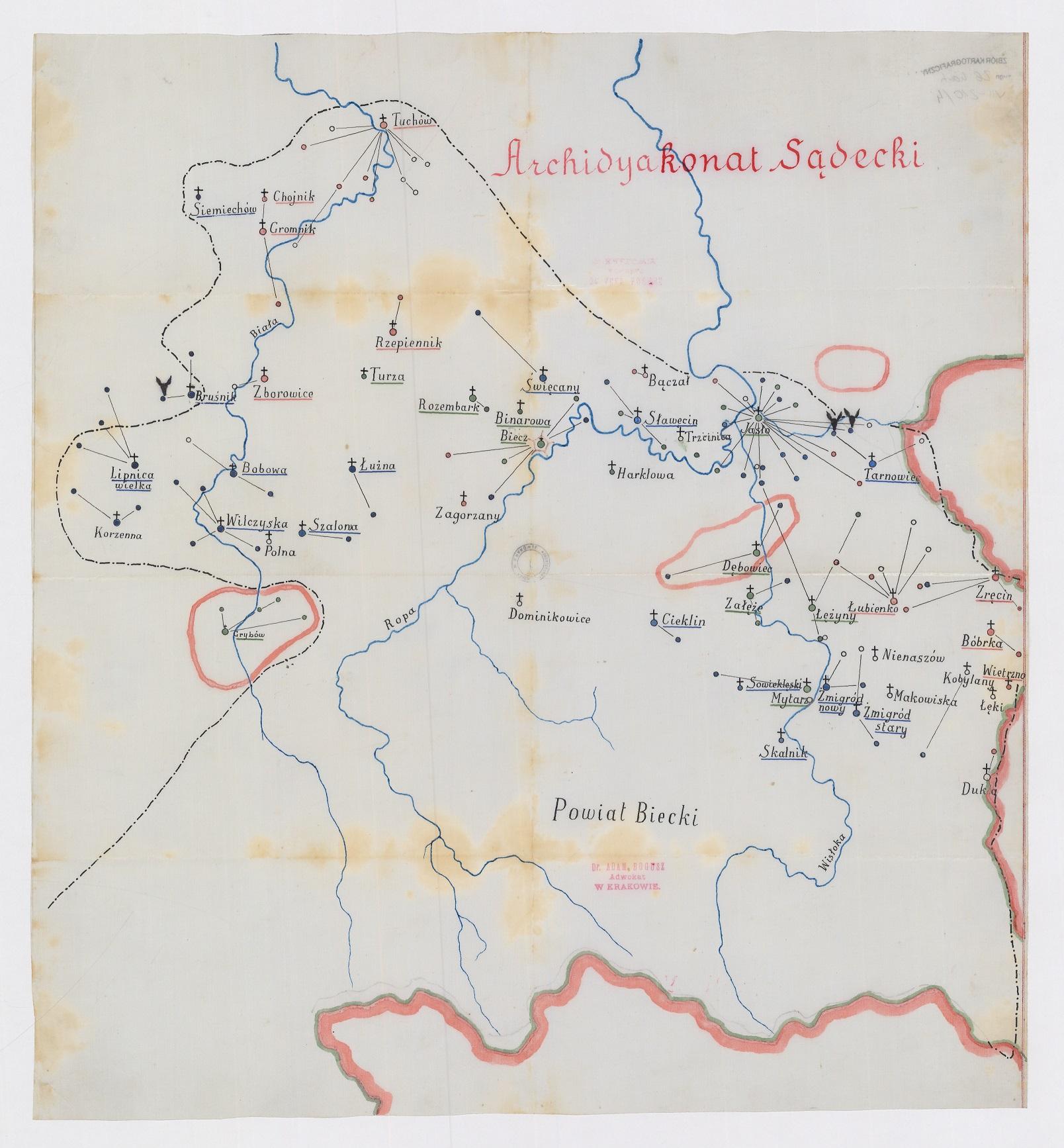 KOściół w Łękach mapa duża