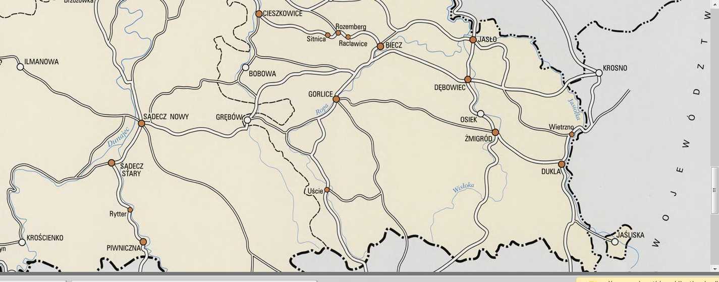 Ważniejsze drogi woj krakowskiego w XVI wieku mapa